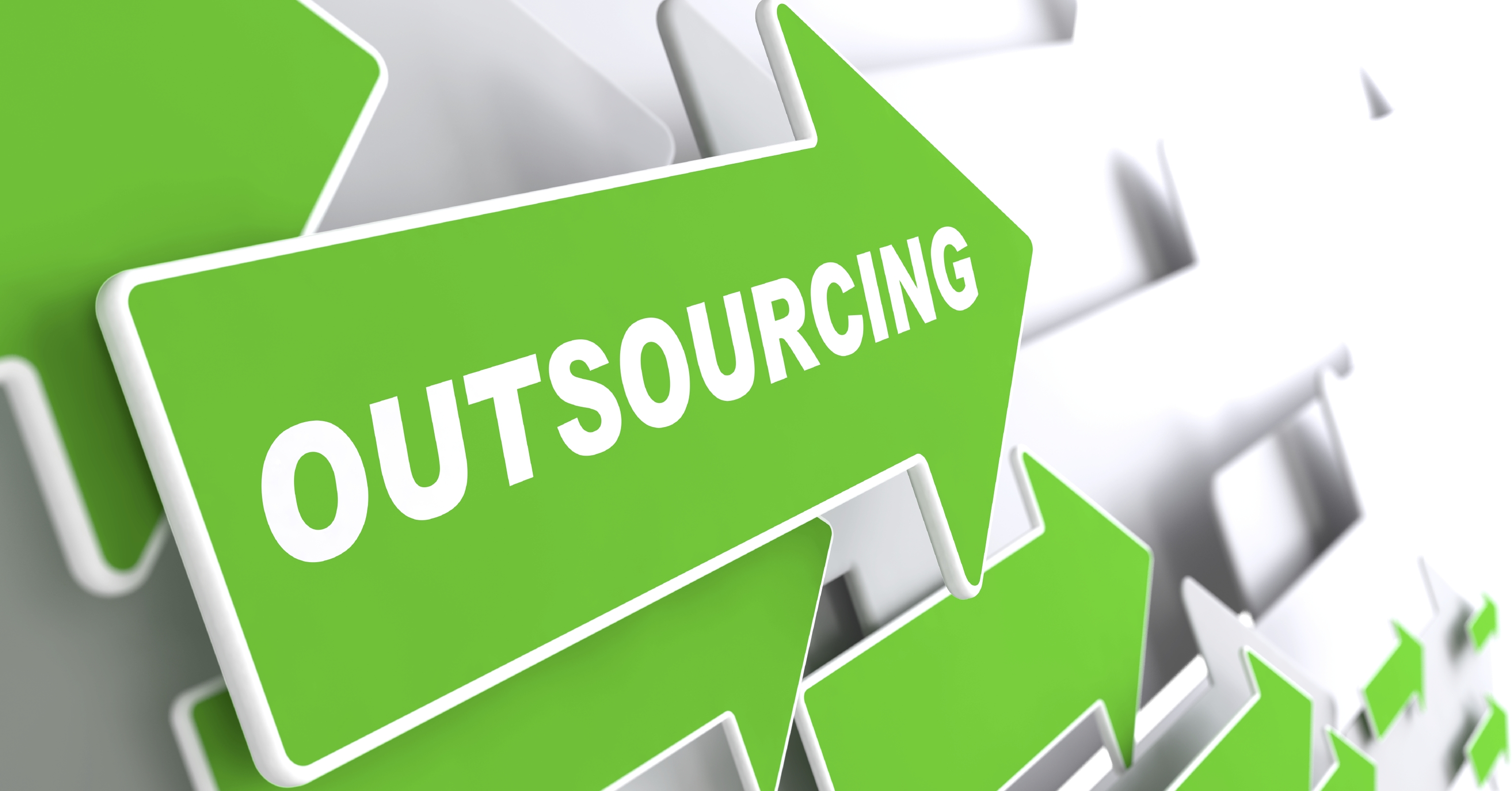 """Outsourcing - Business Background. Green Arrow with """"Outsourcing"""" Slogan on a Grey Background. 3D Render."""